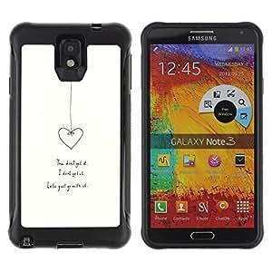 WAWU Funda Carcasa Bumper con Absorci??e Impactos y Anti-Ara??s Espalda Slim Rugged Armor -- heart love relationship white minimalist -- Samsung Note 3