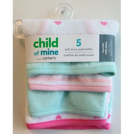 Amazon.com : Child Of Mine by Carters Newborn Baby Girl Washcloths, 5-Pack : Baby