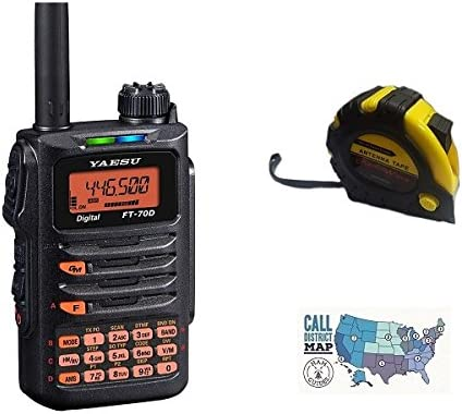Bundle 2m - 30m Includes Yaesu FT-70DR C4FM FDMA//FM 144//430 MHz Dual Band 5W Handheld Transceiver with The New Radiowavz Antenna Tape 3 Items and HAM Guides Quick Reference Card