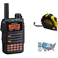 Bundle - 3 Items - Includes Yaesu FT-70DR C4FM FDMA/FM 144/430 MHz DUAL BAND 5W Handheld Transceiver with the New Radiowavz Antenna Tape (2m - 30m) and HAM Guides Quick Reference Card