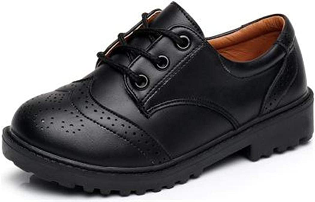 Flyingdogs Fashion British Style Student Wedding Party Shoes Casual Children Leather Shoes Black 9.5M US