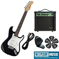 Brand New Black Stagg S300 3/4 Electric Guitar Pack including Amp, Padded Gigbag, Guitar lead, Tuner & Plectrums! Exclusive Deal from Westmount Music