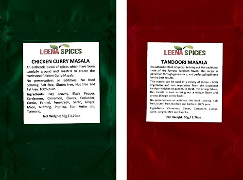 LEENA SPICES-Chicken Curry Masala Spice And Indian Tandoori Seasoning-Mild With No Food Coloring Or Salt-Best Selling Mix For Indian Pakistani Herbs And Spice-With Chicken Recipe-A Glory To ()