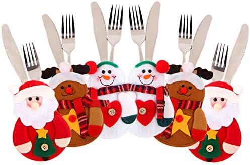 Juego de 6 piezas de cubiertos de Navidad para vajilla tenedor cuchara cuchara bolsa funda para cuchillo, Saige muñeco de nieve Santa Horquilla y bolsa de cuchillo soporte bolsillos Set Vajilla para