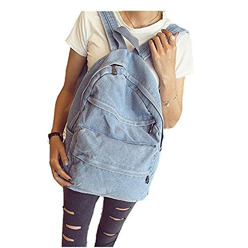- ShengTu Girls Vintage Denim School Bag College Jeans Backpack