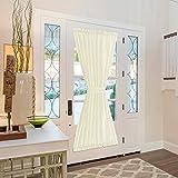 Vangao Rod Poket Curtain 72 inch Length Faux Silk Light Gold French Door Panel Satin Privacy French Door Curtain, 1 Panel, with Bonus Tieback
