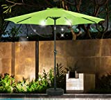 SHORFUNE Solar Powered 40 LEDs Lighted Patio Umbrella, Outdoor Umbrella with Crank and Push Button Tilt, Adaptor Included,Lime Green