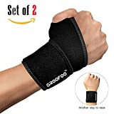 GROOFOO Adjustable Wrist Brace, Breathable Wrist Wrap with Thumb Loop for Men & Women, Reversible Wrist Support for Weightlifting, Powerlifting, Crossfit, Strength Training, Gym Workout, Badminton, Tennis