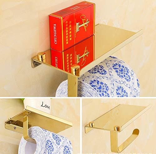 SUKRAGRAHA Wall Mount 304 Stainless Steel Toilet Paper Holder Phone Shelf Golden