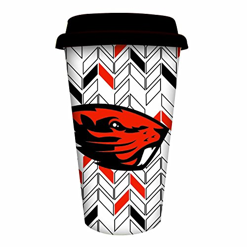 Team Sports America Oregon State University Personalizable Ceramic Travel Coffee Mug, 10 Ounces, with Team Color Markers