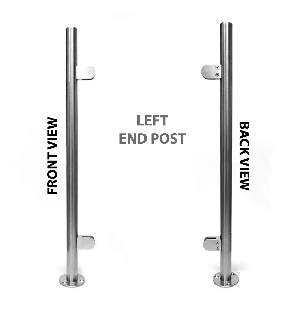 Stainless Steel 316 [Marine Grade] Handrail Railing Systems 1-1/2''OD Round Left End Post with Round Glass Clamps for 3/8'' or 1/2'' Glass Thickness, Height 42''