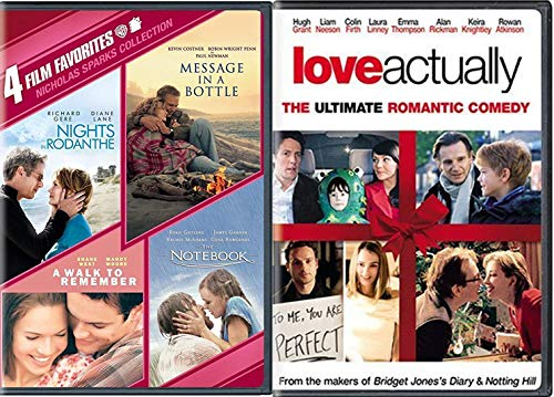 Fell Good Love DVD Actually + The Notebook / A Walk to Remember / Nicholas Sparks Modern Romance Movies / Message in a Bottle / Nights in Rodanthe 5 Film Bundle
