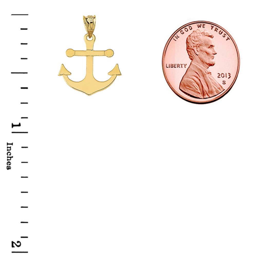 Dainty 14k Yellow Gold Nautical Anchor Pendant and Earrings Set