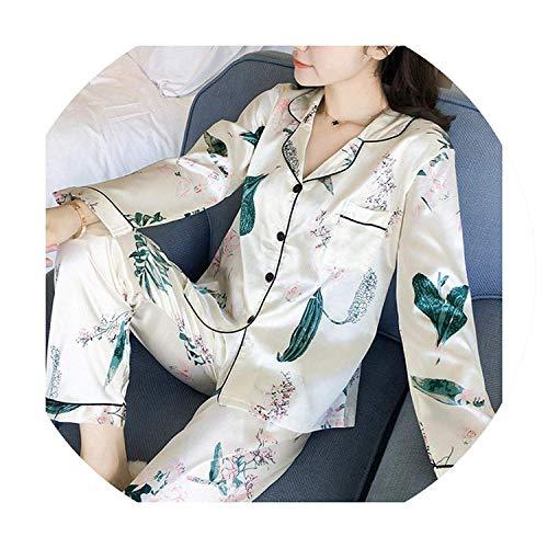 Long Sleeve Silk Women Lounge Pajama Sets Silk Satin Pijama Sleepwear Pyjamas,Medium,Ali ()