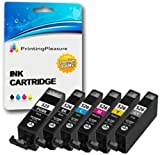 6 (FULL SET) Compatible PGI-525 CLI-526 Ink Cartridges for Canon Pixma MG5150 MG5250 MG6150 MG6250 MG8150 MG8250 MX885 iP4850 iP4950 iX6550 - Black/Photo Black/Cyan/Magenta/Yellow/Grey, High Capacity