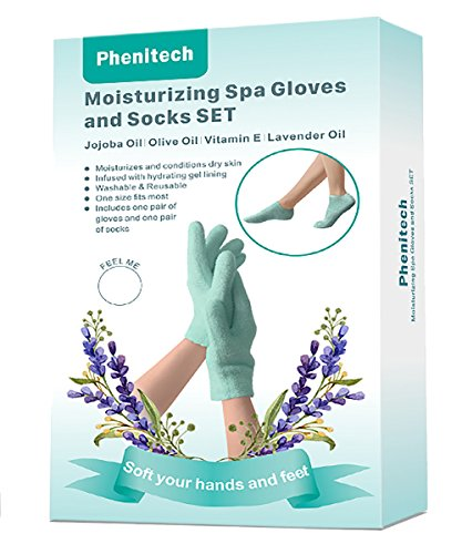 Gloves and Socks with Natural Essence for Dry Hand and Foot Repair Treatment with Large Size Fitting Men and Women Replenishing water for Hands Heels and Feet skin Overnight (Olive Essence Spa)
