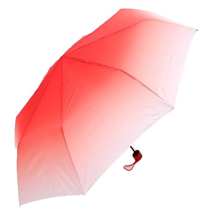 LybCvad paraguas Sombrilla gradiente creativa Sombrilla plegable Sombrilla doble transparente para mujer Sobre la manija retro de color rojo: Amazon.es: ...