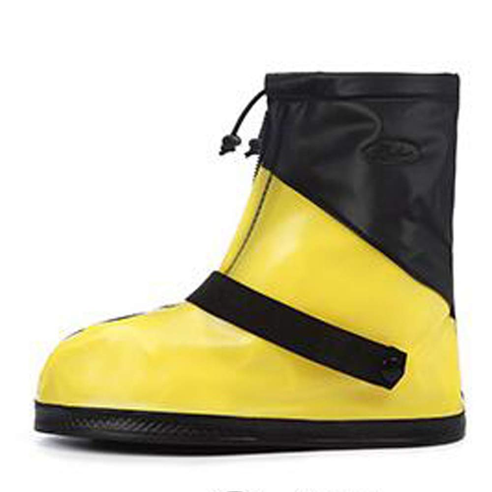WUZHONGDIAN Shoe Cover, Waterproof Boots and Wearable Shoe Covers, Reusable Non-Slip Rain and Snow Shoe Covers Outdoor Waterproof and Dustproof Shoe Covers (Color : Yellow+Black, Size : M) by WUZHONGDIAN
