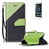 Huawei Y6 II/Huawei Y6 2 Case [with Free Screen Protector},Funyye Stylish Premium Flip Magnetic Detachable PU Leather Wallet with Credit Card Holder Slots Smart Standing Folio Book Style Ultra Thin Different Color Splicing Protective Case Cover Skin for Huawei Y6 II/Huawei Y6 2 -Green