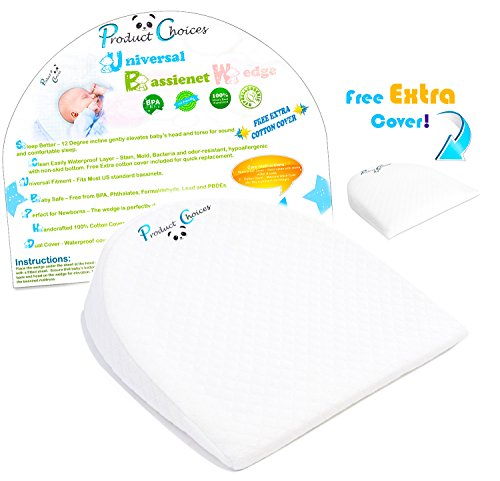 Universal Bassinet Wedge Baby Pillow | Side Pregnancy Pillow | Newborns with Acid Reflux or Nasal Congestion | 12° Incline Improve Sleep Position | 2 Pillow Case | Baby & Infant Sleep Positioner |