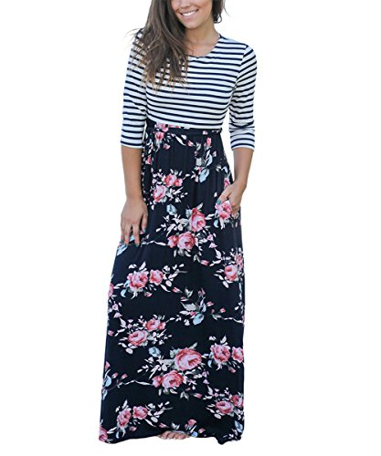 PARTY LADY Women's 3/4 Sleeve Floral Print Maxi Long Dress Swing Dress with Belt Size L Navy Blue