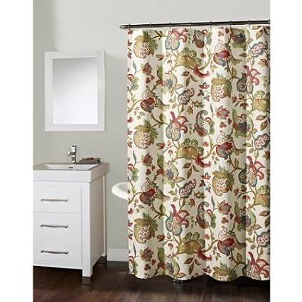 Richloom Home Fashions Kathrann Garden Fabric Shower Curtain 72quot