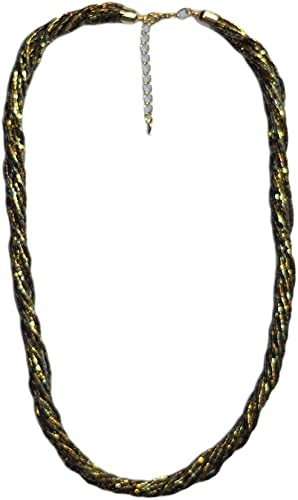 Necklace Lobster Clasp Double Strand Silver and Gold Seed Beaded Necklace