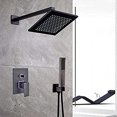 Votamuta Wall Mounted 8-Inch Square Rainfall Shower Faucet System with Handheld Sprayer,Oil Rubbed Bronze