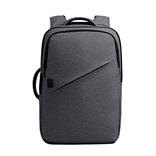 15.4 Professional Backpack - Cai 15.4'' Business Water Resistant Polyester Laptop Backpack Professional Slim Rucksack Casual Durable Travel Rucksack Daypack with Tear Resistant Design for Macbook, Tablet 5132 Blue Grey