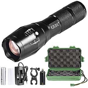Linterna LED Llavero Resistente al Agua con Batería Recargable y 6 Accesrios Faroles de mano de 5 Modos para Ciclismo, Camping, Montañismo, Senderismo y las Actividades al aire libre