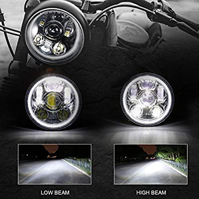 SUNPIE Motorcycle 5-3//4 5.75 Halo LED Headlight for Harley Davidson Dyna Street Bob Super Wide Glide Low Rider Night Rod Train Softail Deuce Sportster Iron 883 with Wire Harness Adapter
