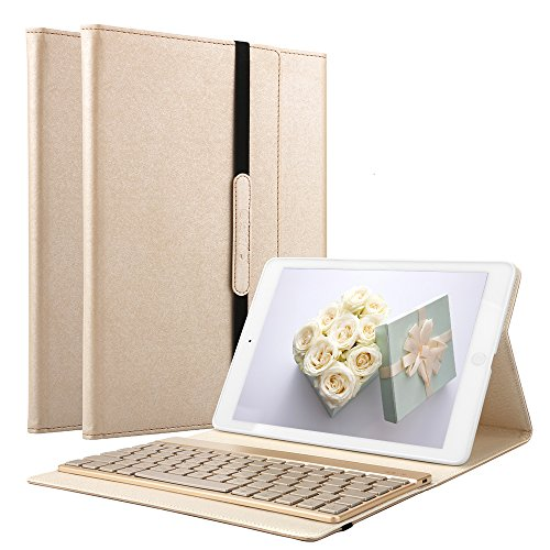 iPad 2 /iPad 3 /iPad 4 Keyboard Case, KVAGO Protective Auto Sleep Wake Smart Cover with Removable 7 Colors Backlight Bluetooth Wireless Keyboard Case(Compatible with iPad 2/3/4 ), Gold