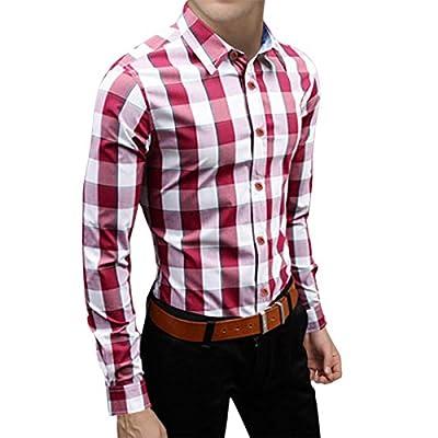 Pishon Men's Plaid Shirts Button Up Long Sleeve Cotton Casual Collared Shirts