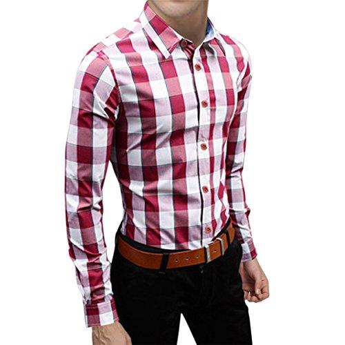 Pishon Men's Plaid Shirts Button Up Long Sleeve Cotton Casual Collared Shirts, Red Plaid, Tagsize2XL=USsizeM