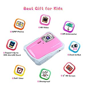 "AIMTOM Kids Underwater Digital Waterproof Camera with 8G microSD Card, 12MP HD Girls Action Camcorder, 2"" Screen Children Birthday Holiday Gift Learn Sports Cam - Floating Wrist Strap (Pink)"