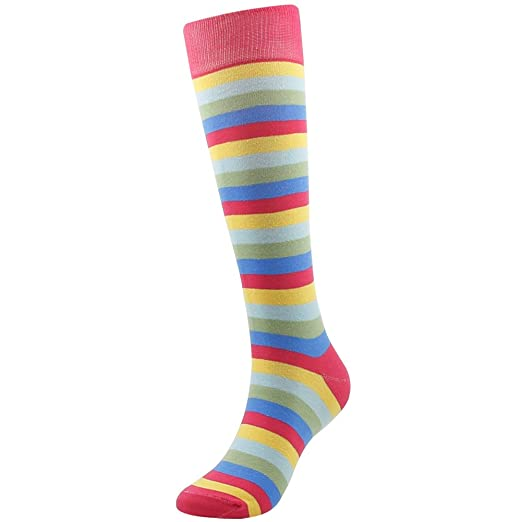 a158cd220ee32 Neon Rainbow Striped Socks, SUTTOS Women's Girl's Custom Elite Knee High  Over The Calf Crazy