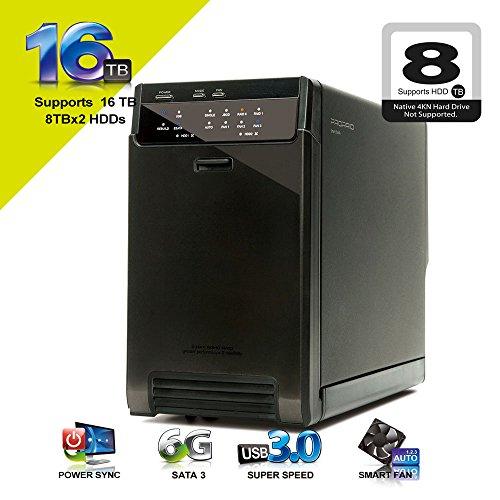 "Price comparison product image Mediasonic ProRaid HUR3-SU3S3 2 Bay 3.5"" SATA Hard Drive Enclosure - USB 3.0 & eSATA Support UASP and SATA III 6.0Gbps Speed"