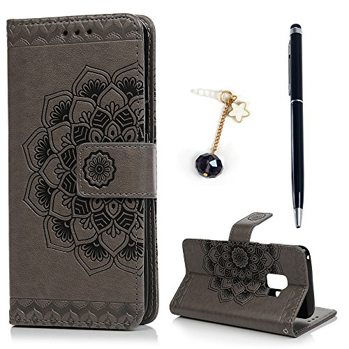 ZSTVIVA S9 Case, Samsung Galaxy S9 Case, Wallet Case Cover PU Leather 3D Magnetic Folio Bumper Embossed Totem Mandala Flower Slim Thin Credit Card Kickstand Protective Skin Shell Protector Gray