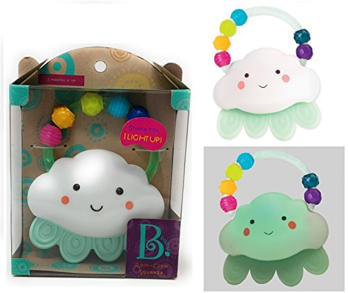 B Toys - RAIN-GLOW SQUEEZE - Shake the Cloud to Make it Glow, Textured Raindrops, Perfect for Baby's Chewy Needs, Easy to Grab H