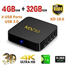 2018 Newest MX10 Date 4 G DDR4 32 GB Android 7.1 Smart TV Box H.265 64bit 4K (60Hz), 3D, RK3328 Quad Core Set Top Box