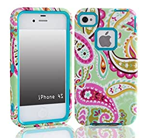 SUPWISER-08AKUAN 3-in-1 Hybrid Back Case Cover Fit For iPhone 4 4S with Stylus Pen,Screen Protector and Cleaning Cloth
