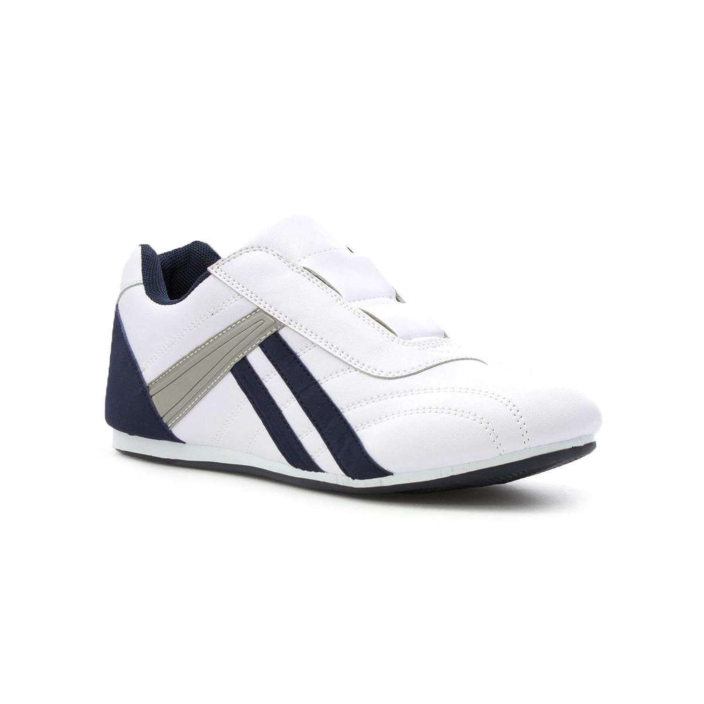 Tick Zapatilla Acordonada, Blanca y Azul Marino, Para Hombre Talla 6 UK/39.5 EU - Blanco