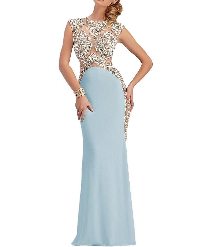 bluee SDRESS Women's Rhinestones Cap Sleeve Scoop Neck Mermaid Prom Dress