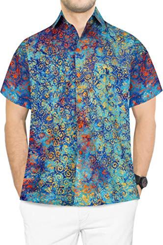 LA LEELA Men's Tropical Camp Hawaiian Shirt Casual Short Sleeve L Turquoise_W624