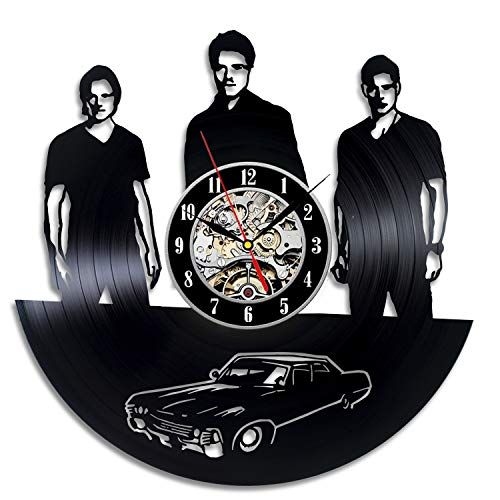 La Bella Casa Winchester Family Supernatural Serial Art Wall Clock Vinyl Wall Clock - Get Unique Wall Home Decor - Gift Ideas for Him and Her - Original Handmade Vintage Gift (Clock Winchester Wall)