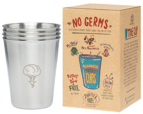 Versatile Stainless Steel Cups 8oz 4 Pack - Great for kids,