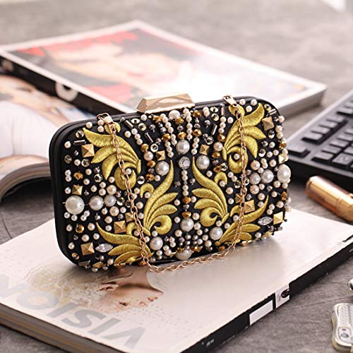 Black Retro Evening Dress Bag Women's Square Female Fly Bag Matching Bag Clutch Machine Embroidered Cheongsam Small Bag Evening Pearl AxSdUxwqn