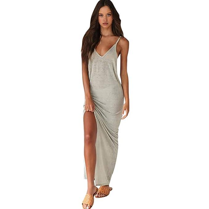 a144c9f214 Donna Abito da Bohemien,Vestito Deep V Donna,YanHoo Donna Moda Tinta ...