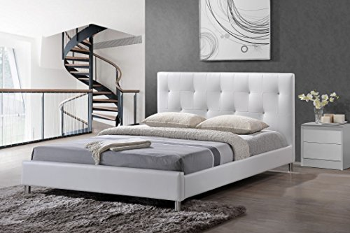 Baxton Studio Barbara Modern Bed with Crystal Button Tufting, Full, White