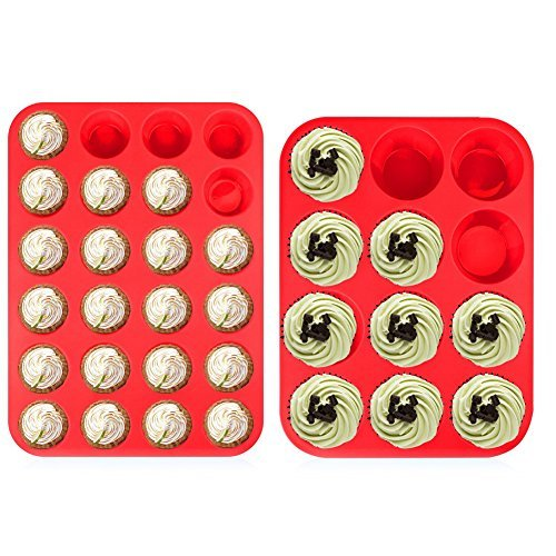 (12 & 24 Cup Sizes) -Non Stick, BPA Free Bakeware Silicone Muffin & Cupcake Baking Pan Set -Top Home Kitchen Trays & Molds - Dishwasher Safe(Red-2 pack)